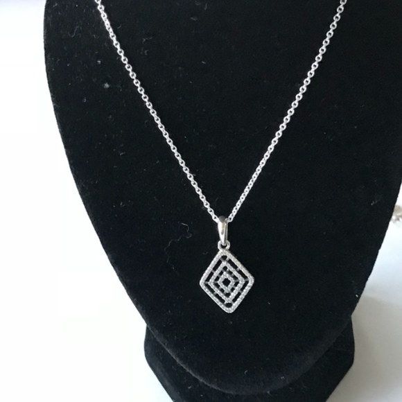 b96d56c675425 Pandora Geometric Lines Necklace with Clear CZ